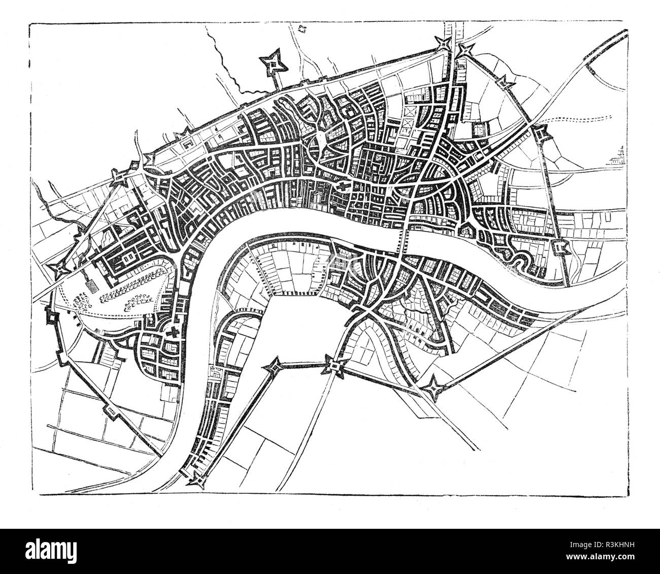 A map of mid-17th Century London showing the walls that surrounded the then small City, England. - Stock Image