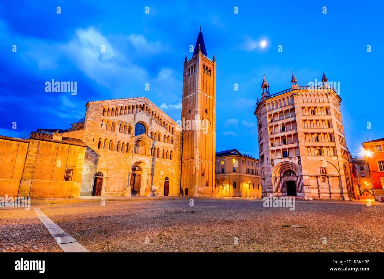 Parma, Italy - Piazza del Duomo with the Cathedral built in 1059, Emilia-Romagna. - Stock Image