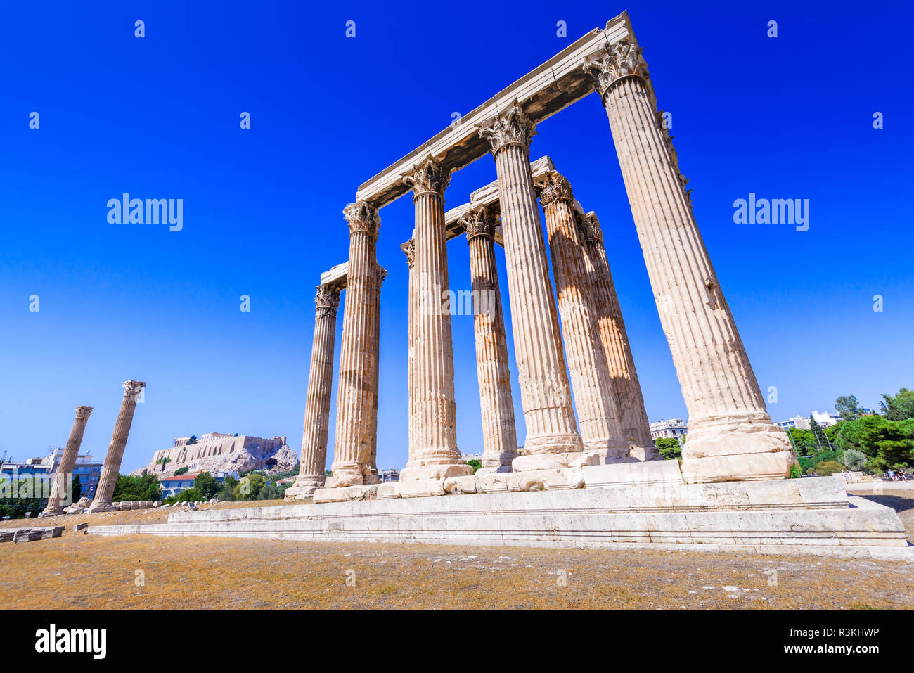 Athens, Greece - Temple of Olympian Zeus, largest in Ancient Greek civilization, Olympieion. - Stock Image