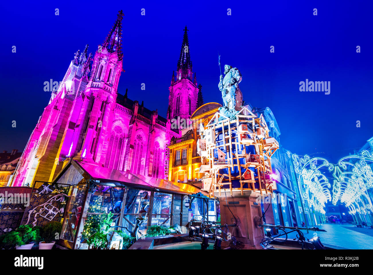 Mulhouse, France - Traditional Christmas Market, Marche de Noel city in Alsace. - Stock Image