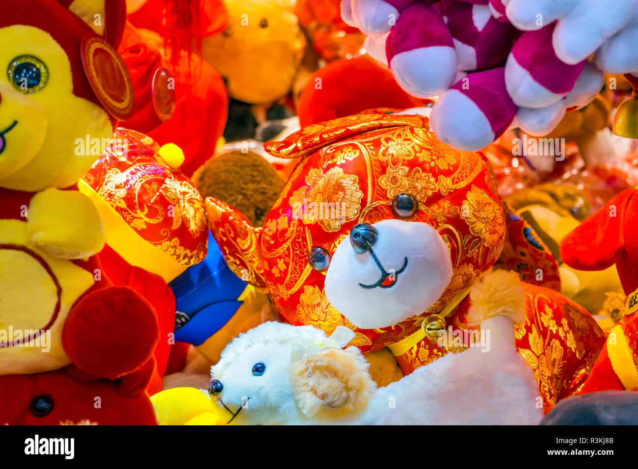 red ancient dogs decorations beijing china 2018 year of the dog in chinese lunar new year decorations hung by many chinese as decorations