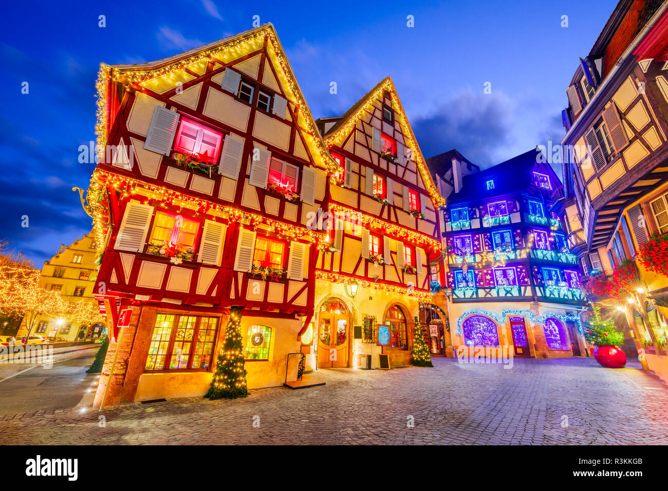 Colmar, France. Traditional Alsatian half-timbered houses Christmas decorated city in Alsace. Stock Photo