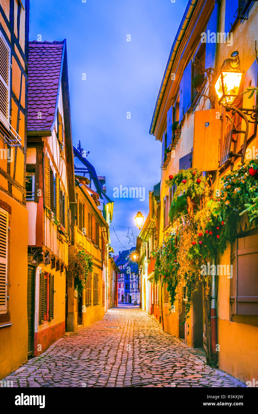 Colmar, Alsace, France. Gingerbread houses at Petite Venise. Christmas decoration of local craftsmen, famous in Europe. - Stock Image