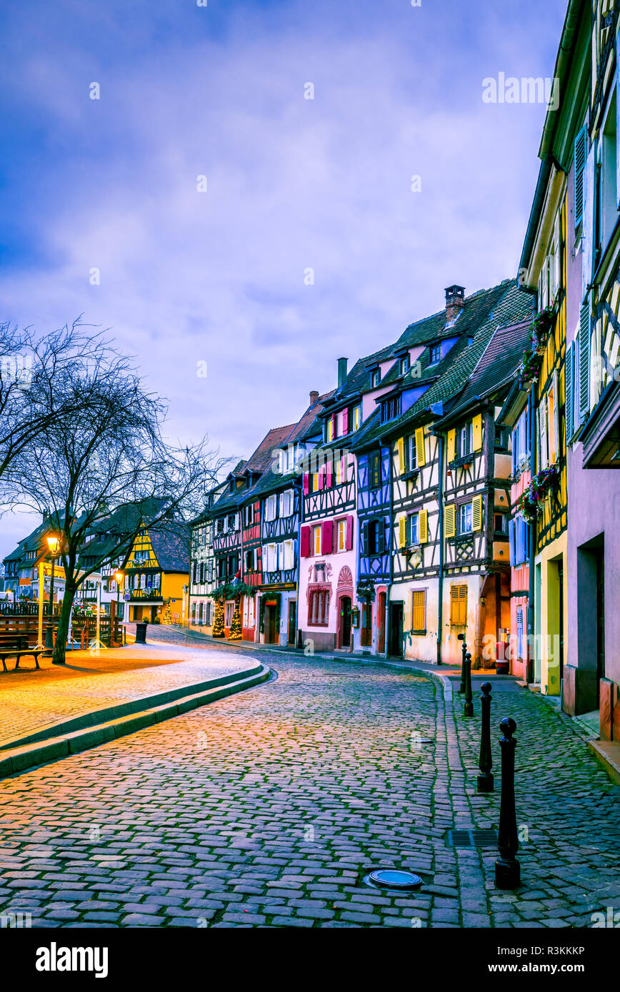 Colmar, France. Gingerbread houses in old city Petit Venice. Christmas decoration of local craftsmen, famous in Alsace and Europe. - Stock Image