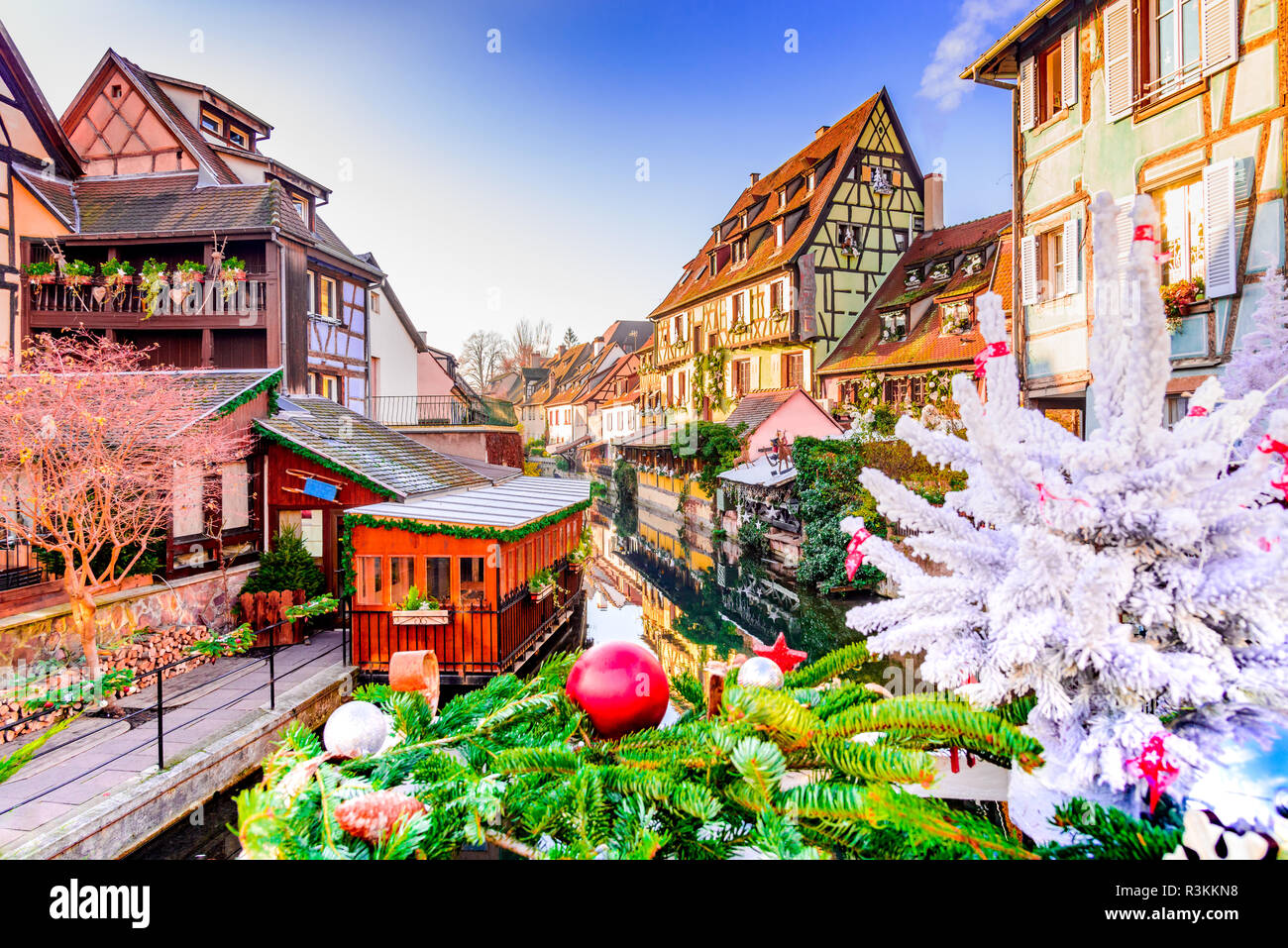 Colmar, Alsace, France. Christmas decorated gingerbread Petite Venise in Alsace. - Stock Image