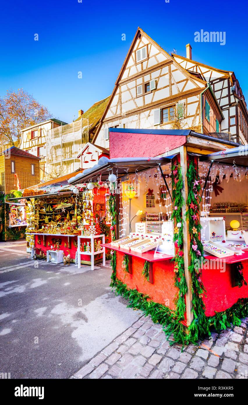 Colmar, France. Christmas Fair with gingerbread houses in Alsace famous place in Europe. - Stock Image
