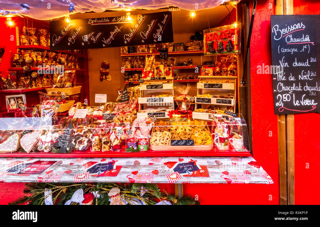 Colmar, France - 5 December 2017: Christmas Fair with gingerbread houses in Alsace famous place in Europe. - Stock Image