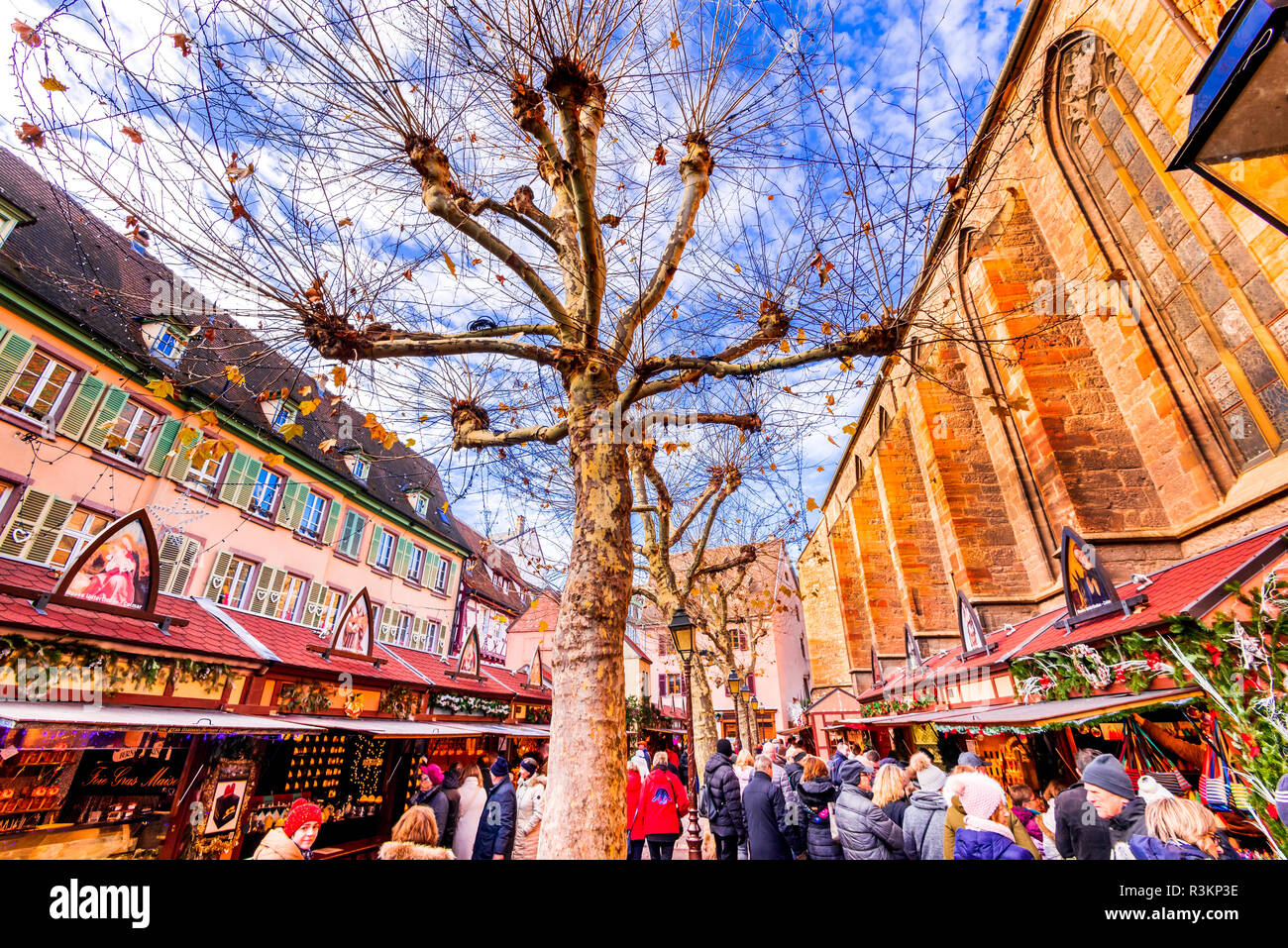 Colmar, France - December 2017. Christmas Market in Place de la Cathédrale, traditional Xmas decorated city in Alsace. - Stock Image