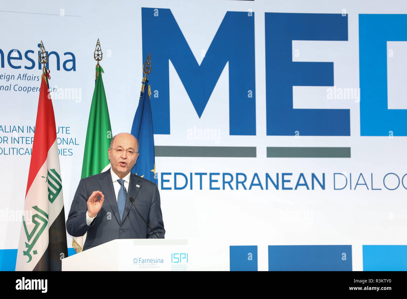 Rome, Italy. 22nd Nov, 2018. Iraqi President Barham Salih delivers a speech at the 4th annual Mediterranean Dialogues Conference (MED) which kicked off Thursday in Rome, Italy, Nov. 22, 2018. Credit: Cheng Tingting/Xinhua/Alamy Live News - Stock Image
