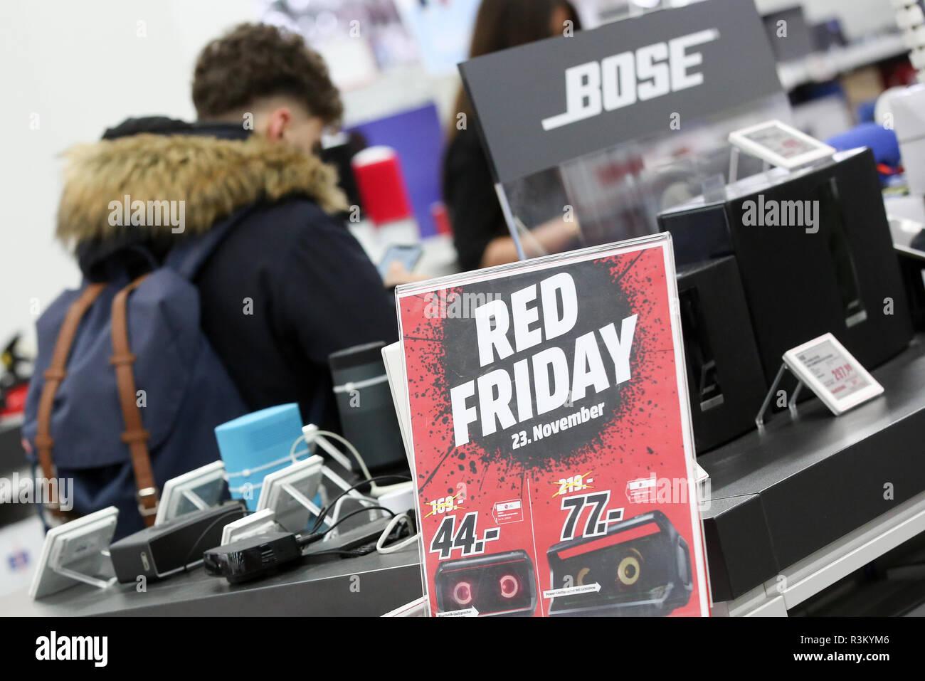 Hamburg Germany 23rd Nov 2018 Red Friday Is Written On A Sticker In A Media Markt