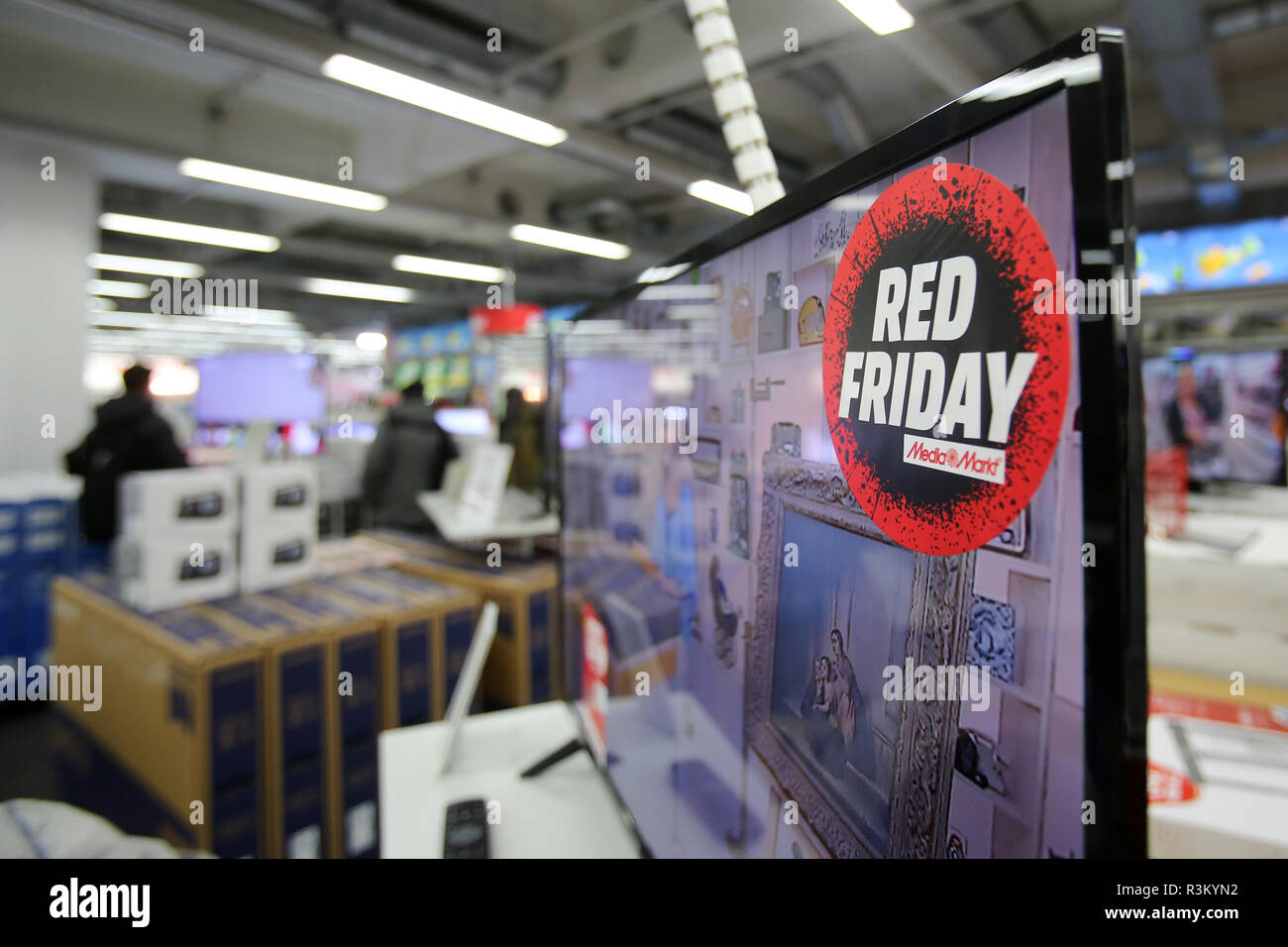 Hamburg Germany 23rd Nov 2018 Red Friday Is Written On A Sticker In A Media Markt Store In Hamburg On Discount Day Black Friday According To Estimates By The Handelsverband Deutschland Hde
