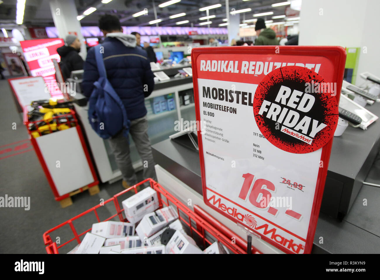 Hamburg Germany 23rd Nov 2018 Red Friday Is Written On A Sticker In A Media Markt
