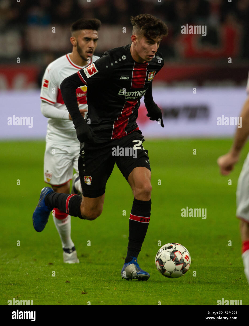 Leverkusen, Germany 23rd November 2018, Bundesliga, Bayer 04 Leverkusen vs VfB Stuttgart:                  Credit: Juergen Schwarz/Alamy Live News - Stock Image