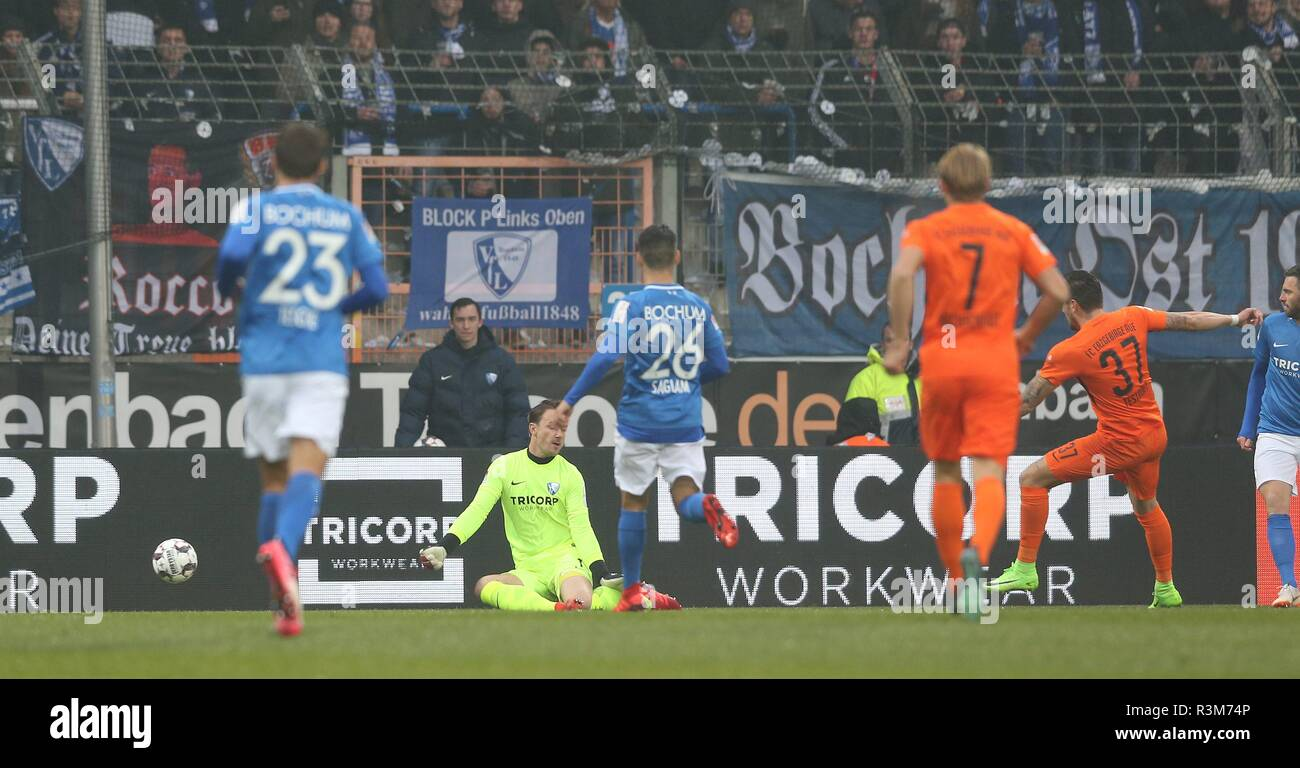 firo: 24.11.2018, football, 2.Bundesliga, season 2018/2019, VfL Bochum - Erzgebirge Aue goal to 0: 1 Aue by TESTROET | usage worldwide - Stock Image