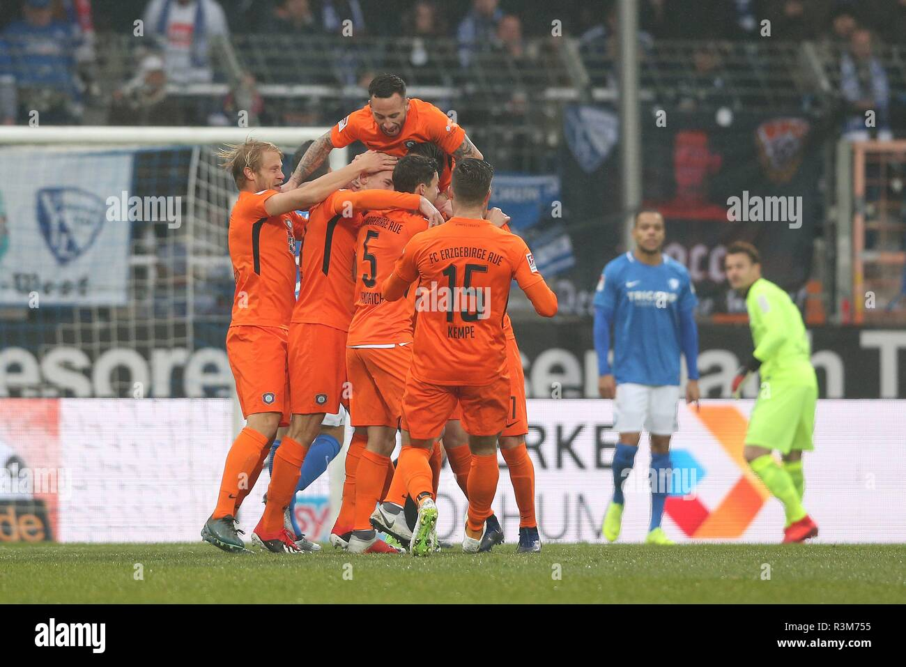 firo: 24.11.2018, football, 2.Bundesliga, season 2018/2019, VfL Bochum - Erzgebirge Aue jubilation to 0: 1 Aue to TESTROET | usage worldwide - Stock Image