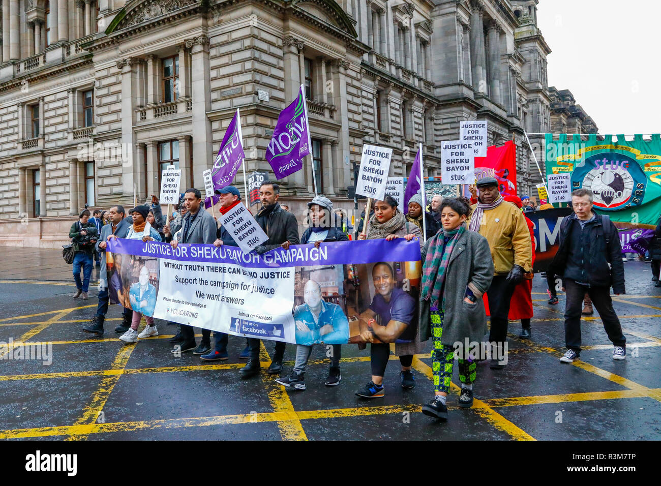 Glasgow, UK. 24th November 2018. More than 1000 STUC activists paraded through Glasgow city centre starting at Glasgow Green and finishing at STUC headquarters in Bath Street. The parade was led by leader of the Scottish Labour Party RICHARD LEONARD who was accompanied by Labour MSP ANAS SARWAR and AAMER ARWAR the lawyer representing the relatives of Sheku Bayoh, who died in police custody. The parade was also used as an anti-racism campaign. Credit: Findlay/Alamy Live News - Stock Image