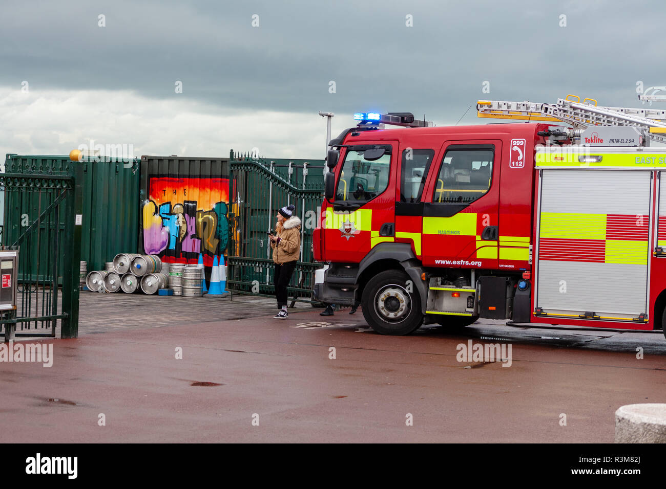 Hastings, East Sussex, UK: 24th November 2018: East Sussex Fire Brigade were called out to Hastings Pier after a small electrical fire broke out. Four fire engines attended the scene and the fire was quickily contained with minimal damage. Credit: SEUK News/Alamy Live News Stock Photo