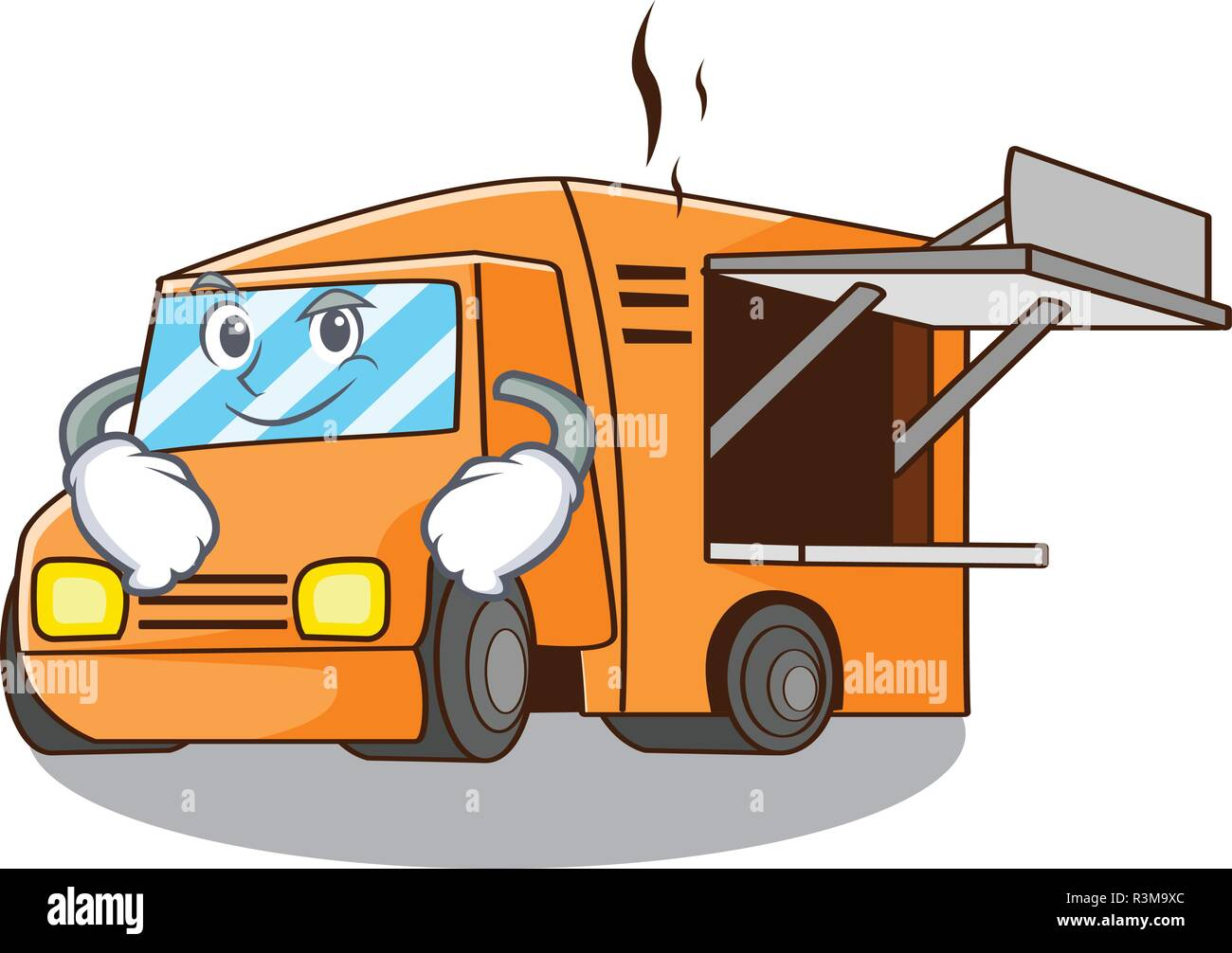Smirking Food Truck with Isolated on mascot Stock Vector