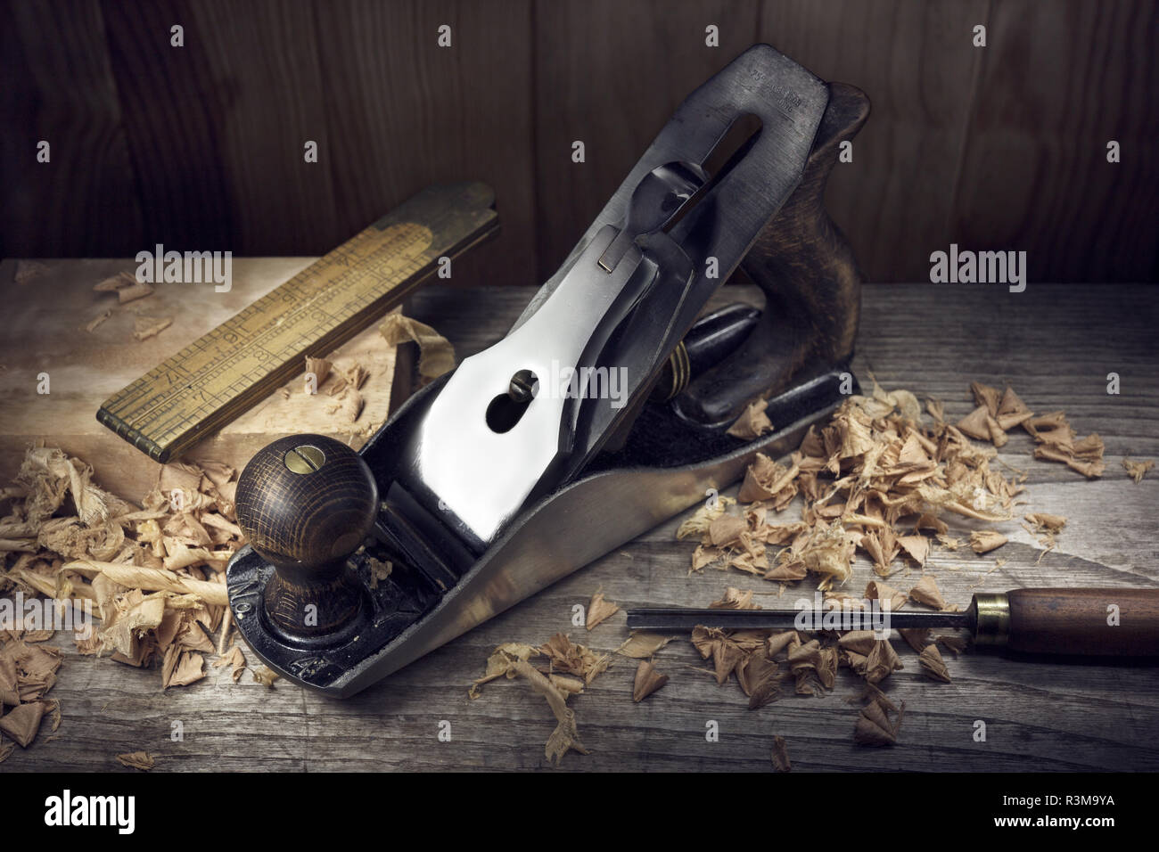 Woodworking Hand Tools Wood Shavings Stock Photos Woodworking Hand