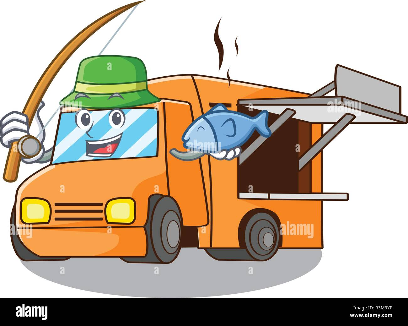 Fishing food truck festival on shape cartoon - Stock Image
