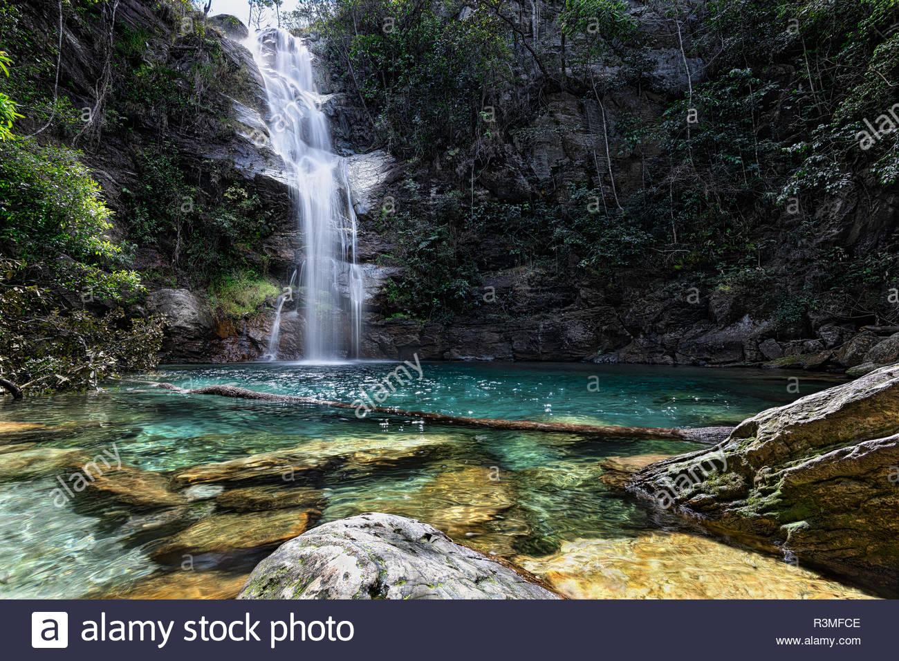 Santa Barbara waterfall, Chapada dos Veadeiros, Cavalcante, Goiás, Brazil. - Stock Image
