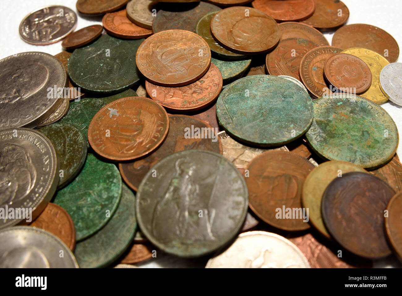 Old British Coins Stock Photos & Old British Coins Stock