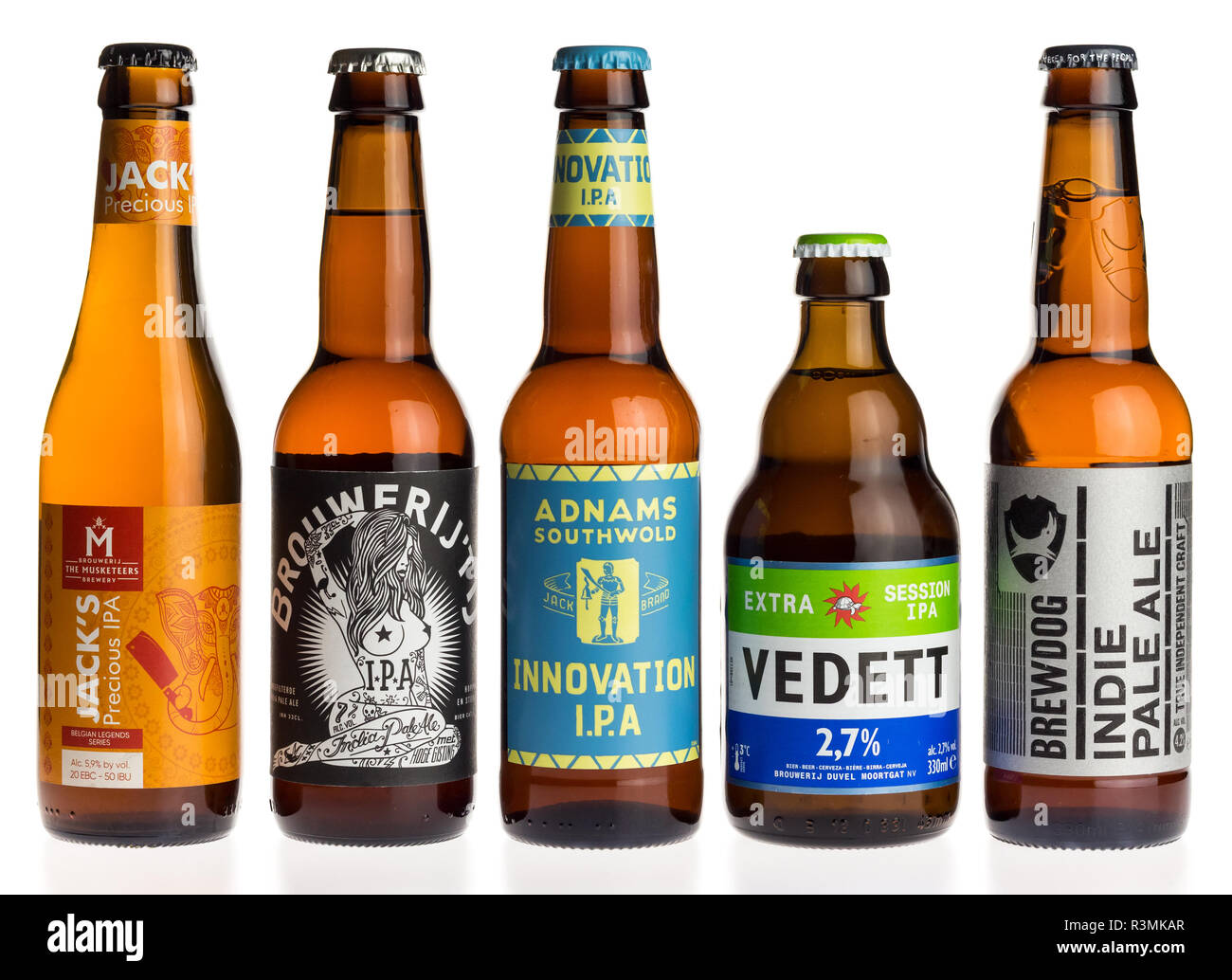Collection of Jacks, Adnams, Vedett and Brewdog Indian Pale Ale beers isolated on a white background - Stock Image