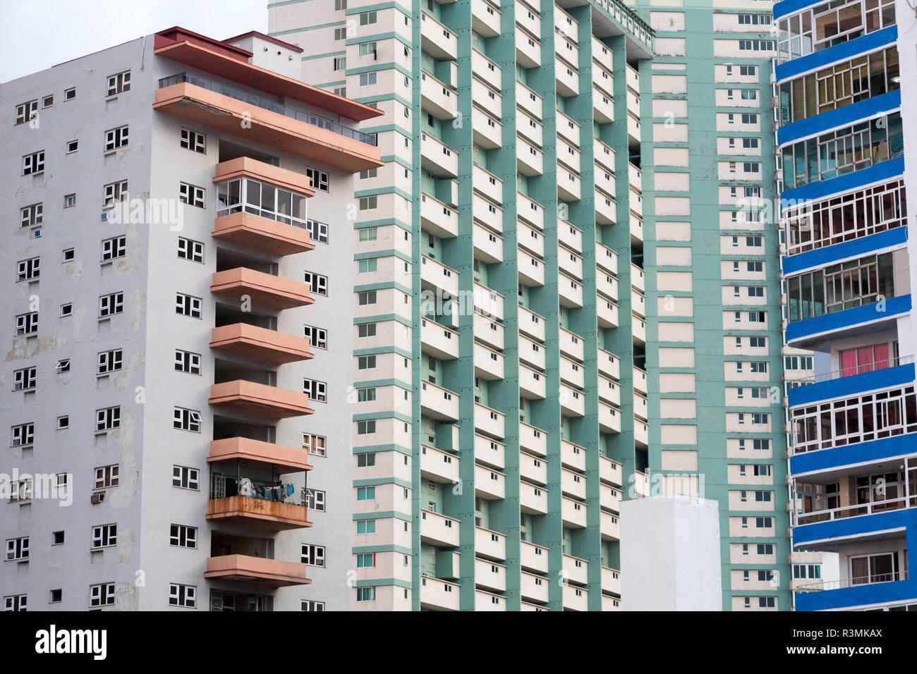 Cuba, Havana. Apartment building windows and balconies. Credit as: Wendy Kaveney / Jaynes Gallery / DanitaDelimont.com Stock Photo
