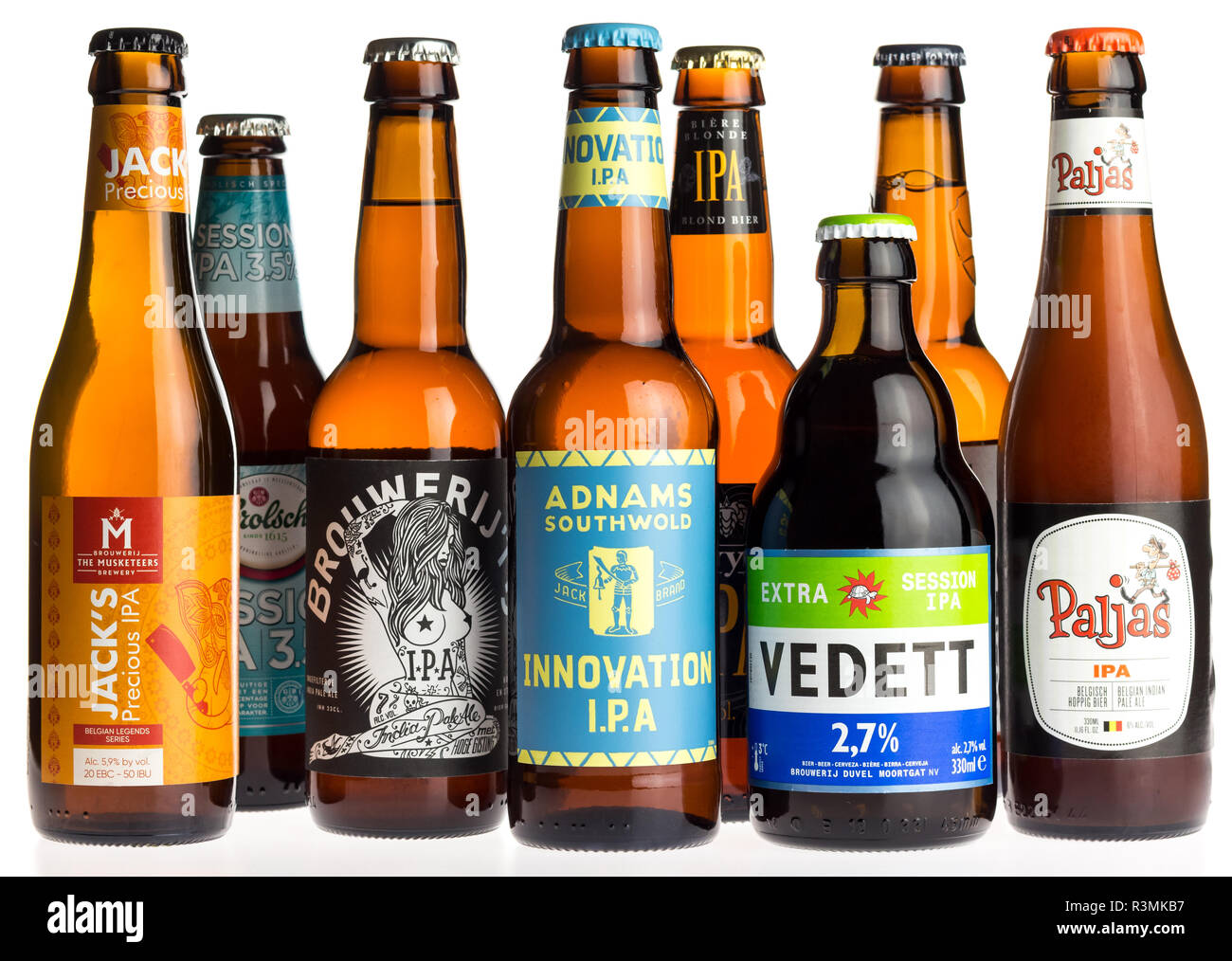 Collection of Jacks, Adnams, Vedett and Paljas Indian Pale Ale beers isolated on a white background - Stock Image
