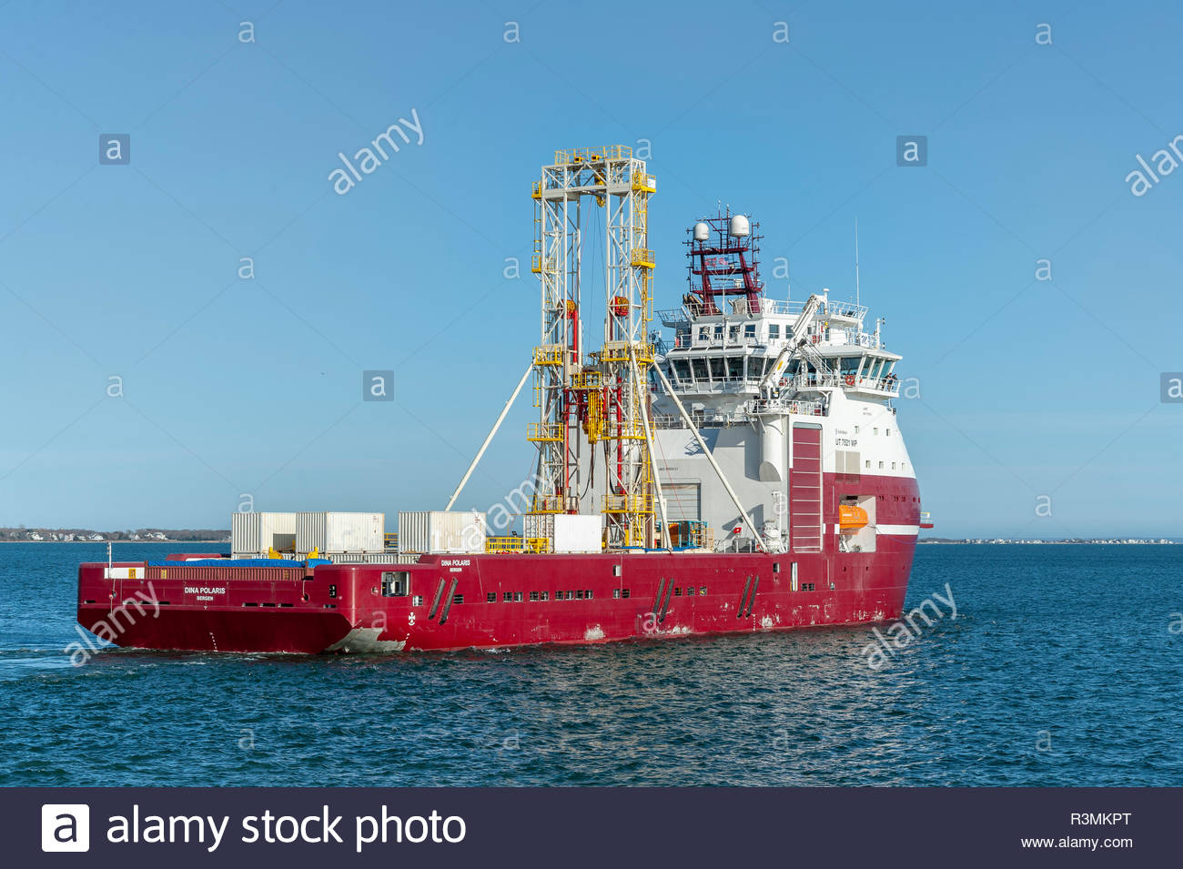 New Bedford, Massachusetts, USA - April 26, 2018: Geotechnical drilling vessel Dina Polaris heading for Buzzards Bay from New Bedford - Stock Image