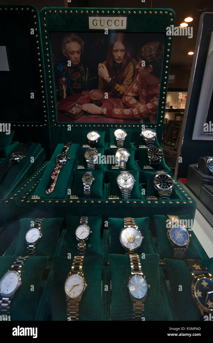 7042a061eef Jewellers Window Display of Gucci Watches Stock Photo  226035333 - Alamy