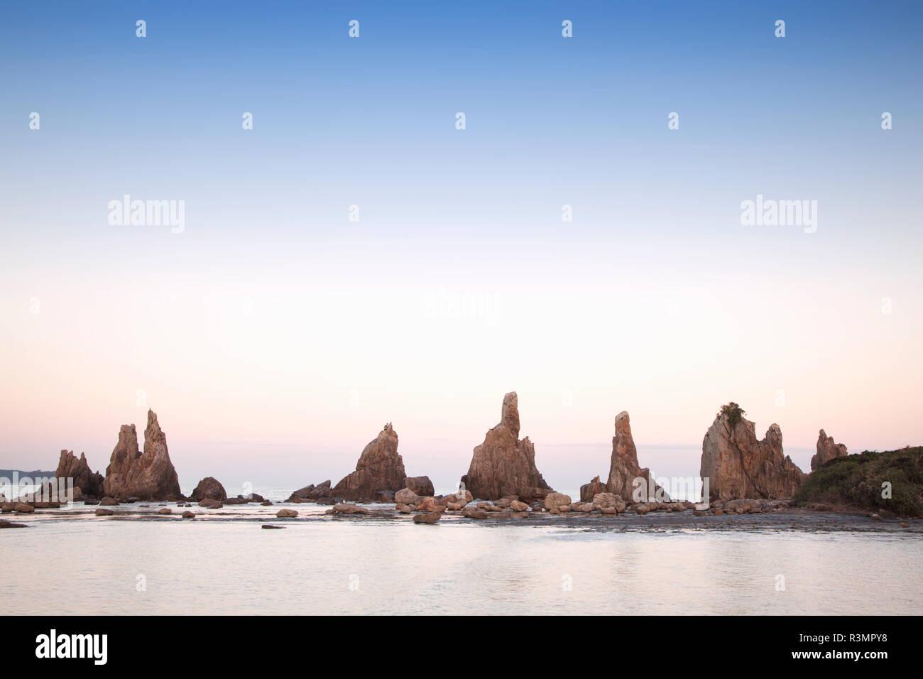 Japan, Wakayama Prefecture. Landscape of Hashigui-iwa Rocks. - Stock Image