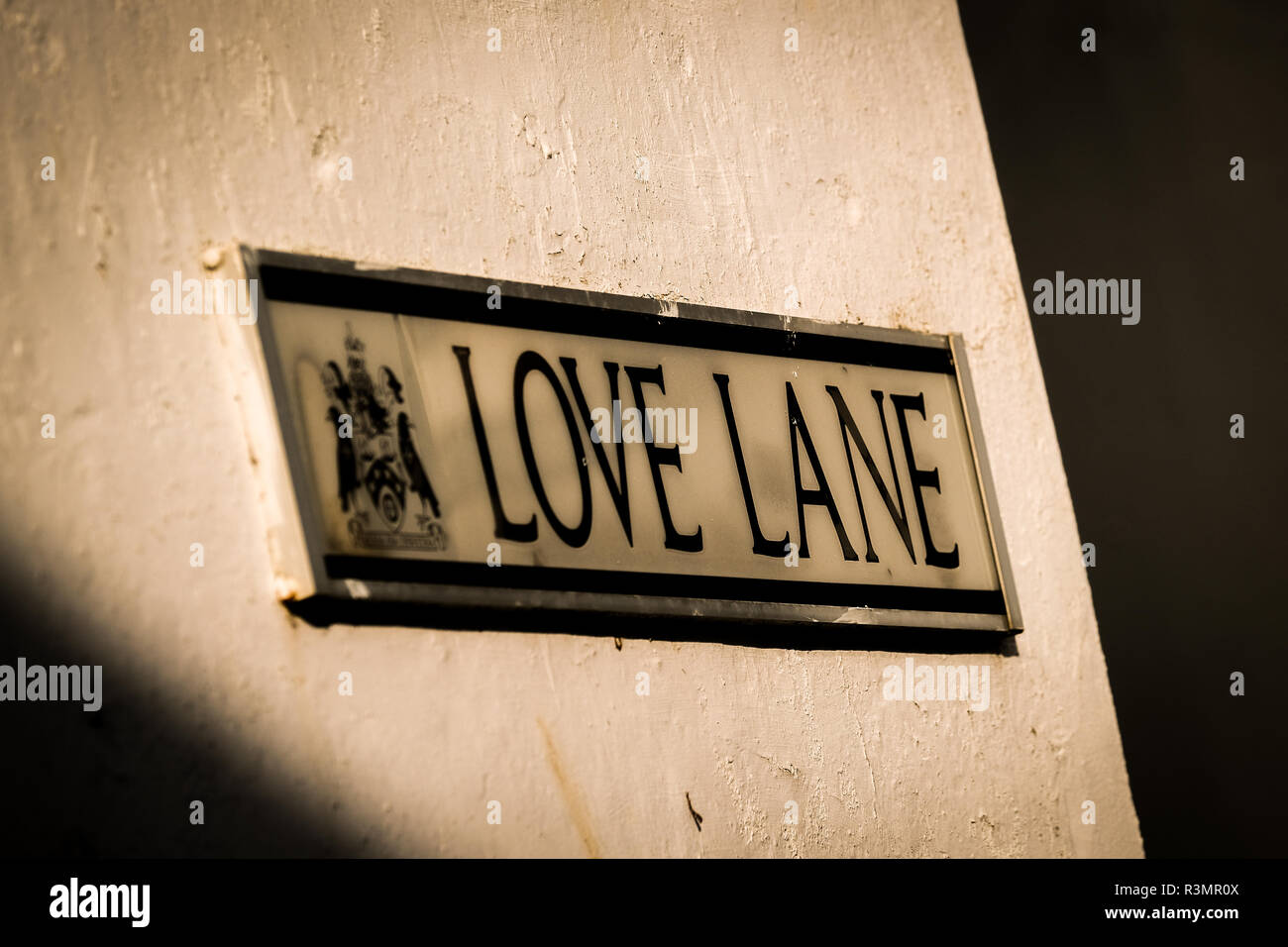 Street sign for Love Lane in St Ives, Cornwall. - Stock Image