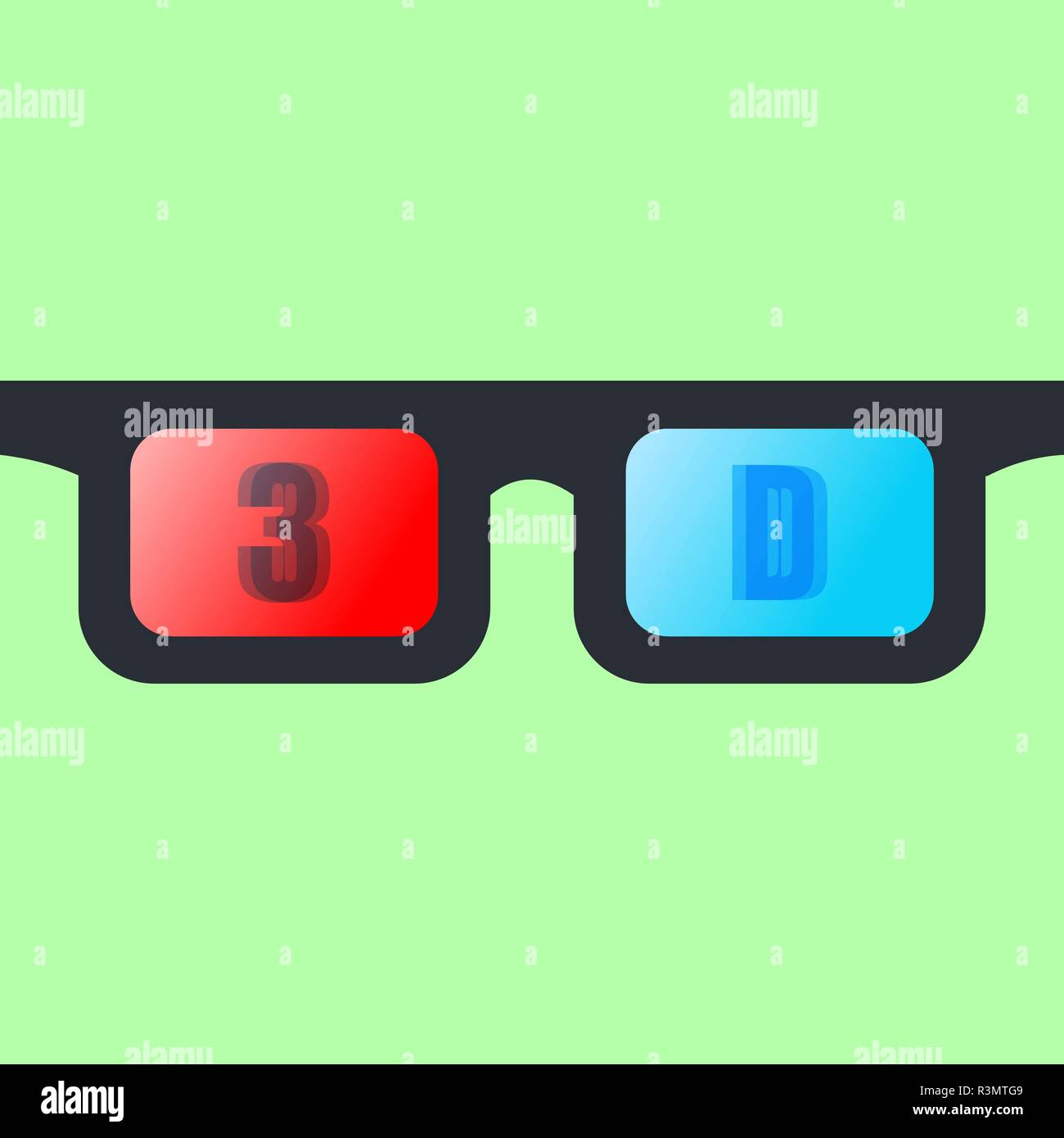 Front view of a pair of 3D glasses Isolated on greenbackground. - Stock Image