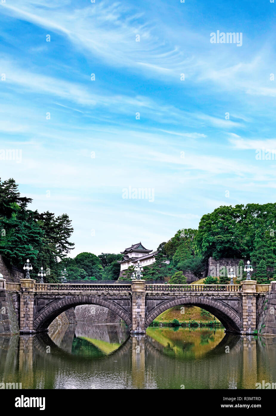 Tokyo, Japan. Imperial Palace, Edo Castle, with Nijubashi Bridge and moat - Stock Image