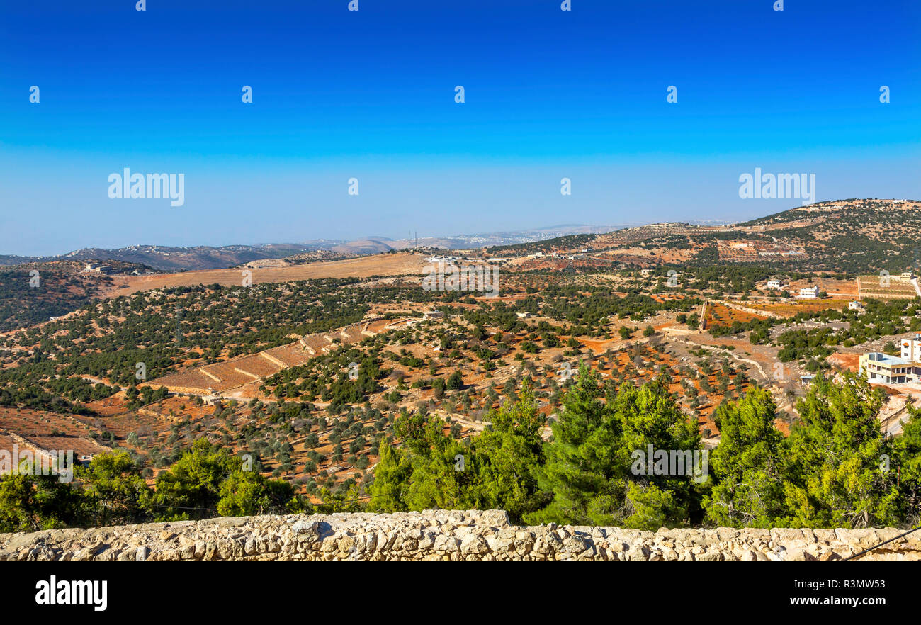 View From Qalat ar-Rabid Ancient Arabic Fortress Castle Ajlun Jordan. Ancient Arabic Castle built in 1184-1185 to counter Crusader threat. - Stock Image