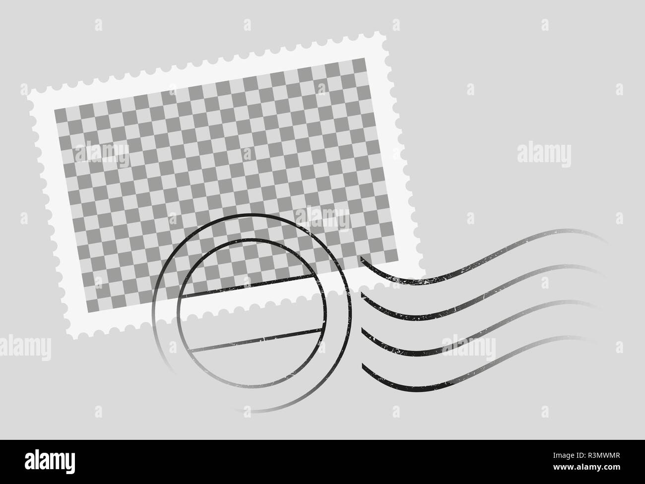 postmarked postage stamp template with date stamp - Stock Image