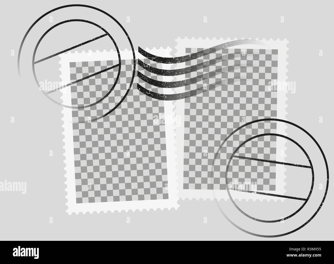 postmarked postage stamps template with date stamp - Stock Image