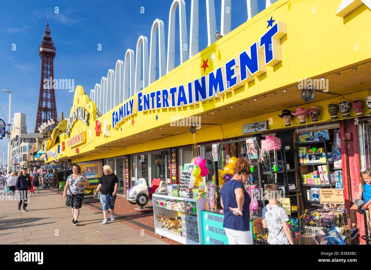 Blackpool tower and the Golden Mile amusements amusement arcade family entertainment seafront promenade Blackpool Lancashire England GB UK Europe - Stock Image