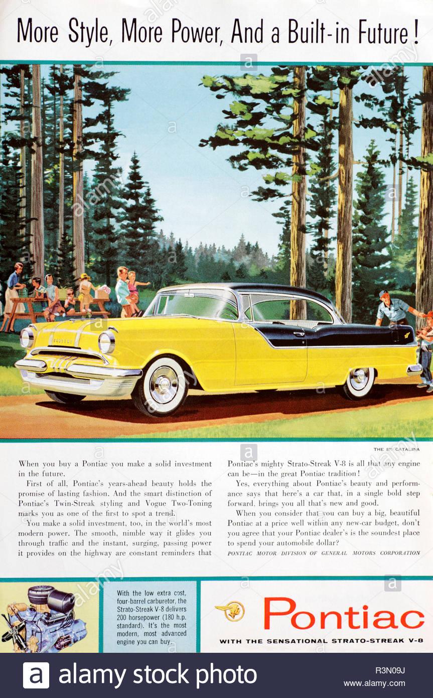 Vintage advertising for the Pontiac Chieftan 870 Catalina Car 1955 - Stock Image