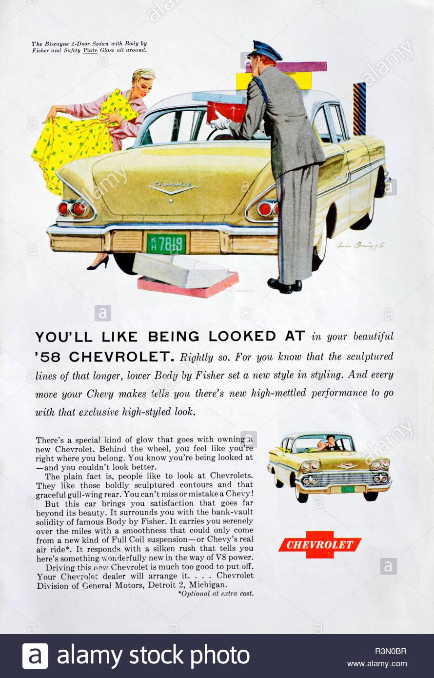 Vintage advertising for the Chevrolet Biscayne Sedan Car 1958 - Stock Image