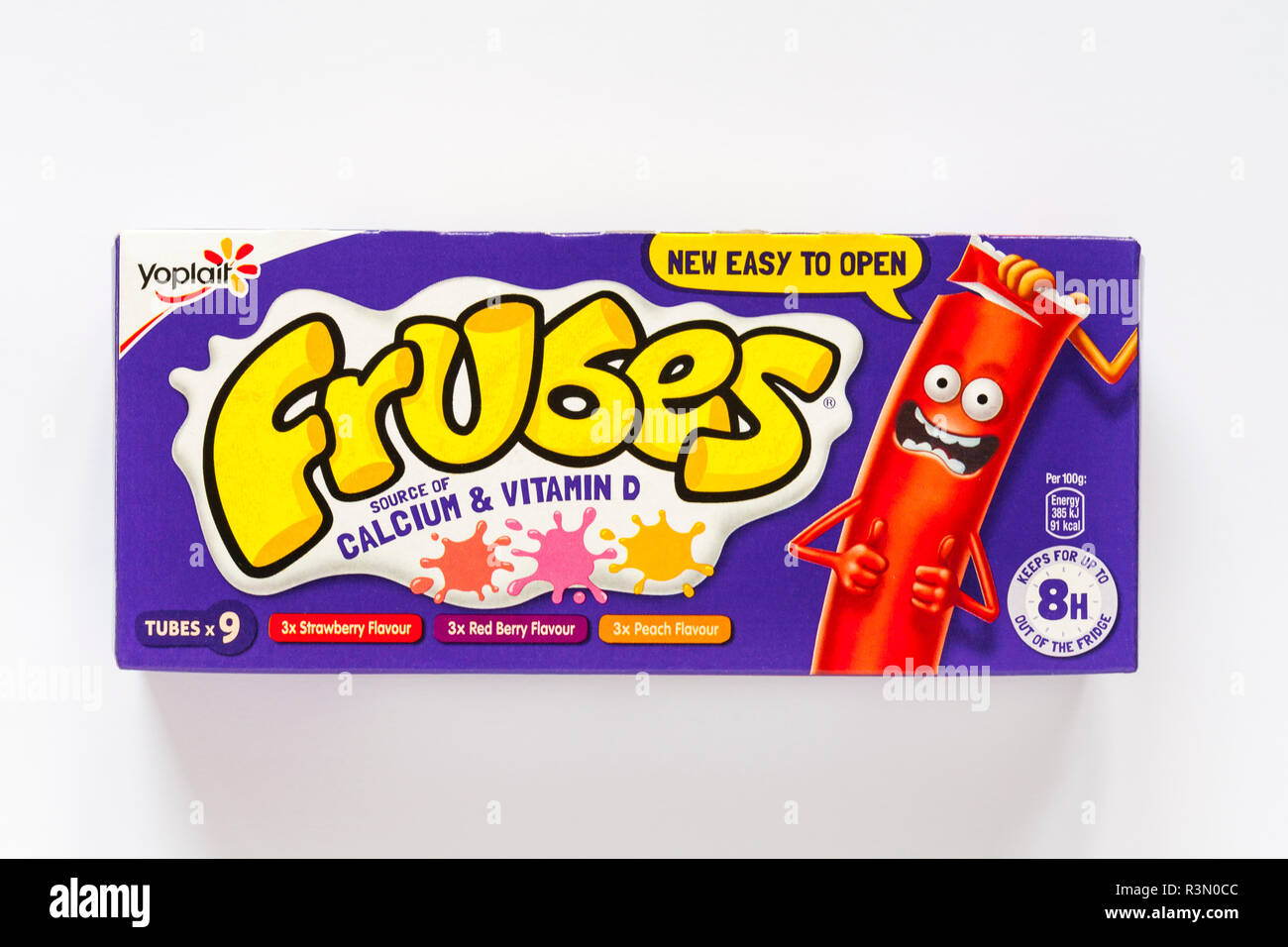 box of Yoplait Frubes, fromage frais in a tube yoghurt yogurt set on white background - also known as Go-GURT and Yoplait Tubes - Stock Image