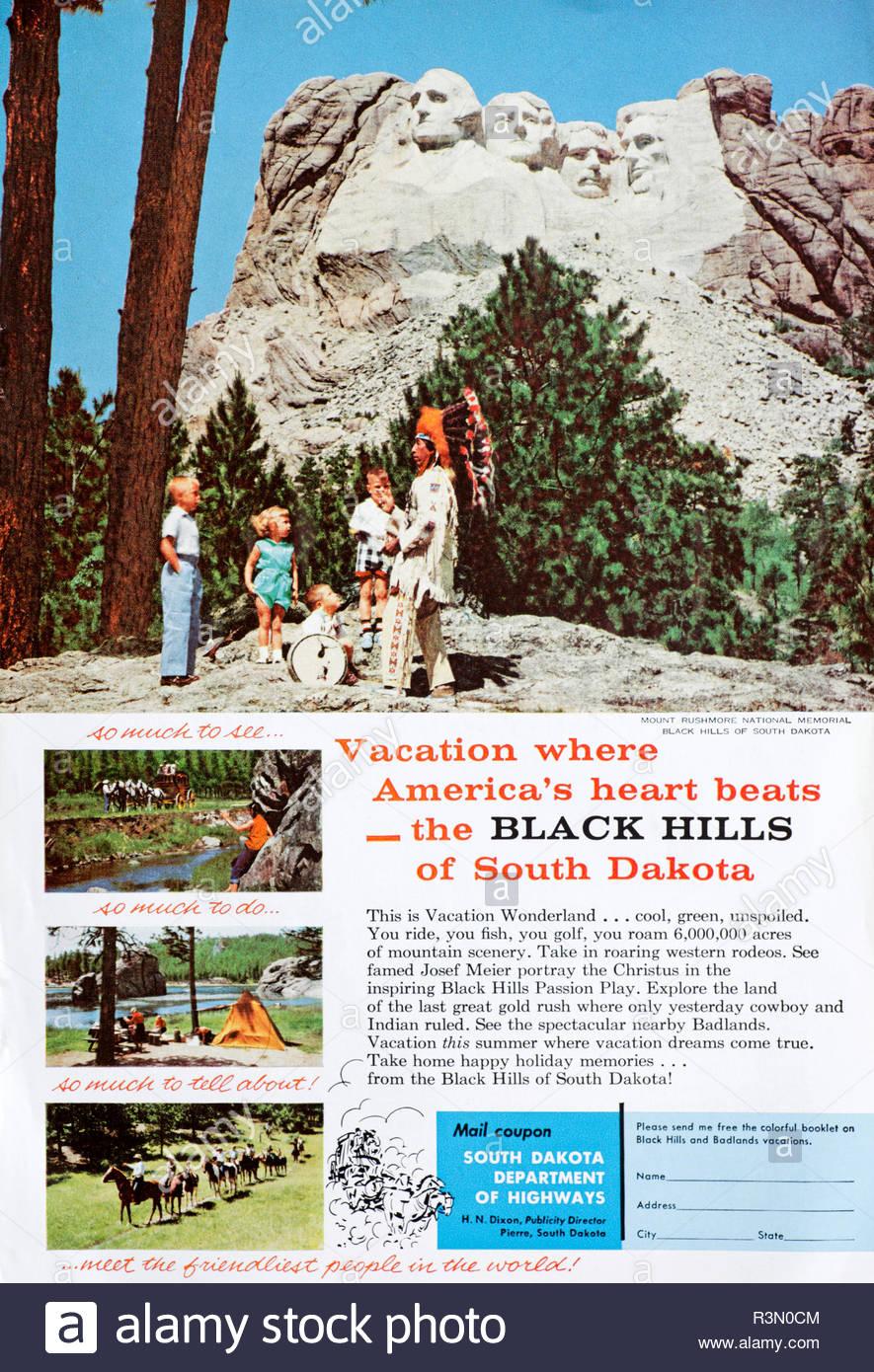 Vintage advertising for South Dakota, USA from 1958 - Stock Image