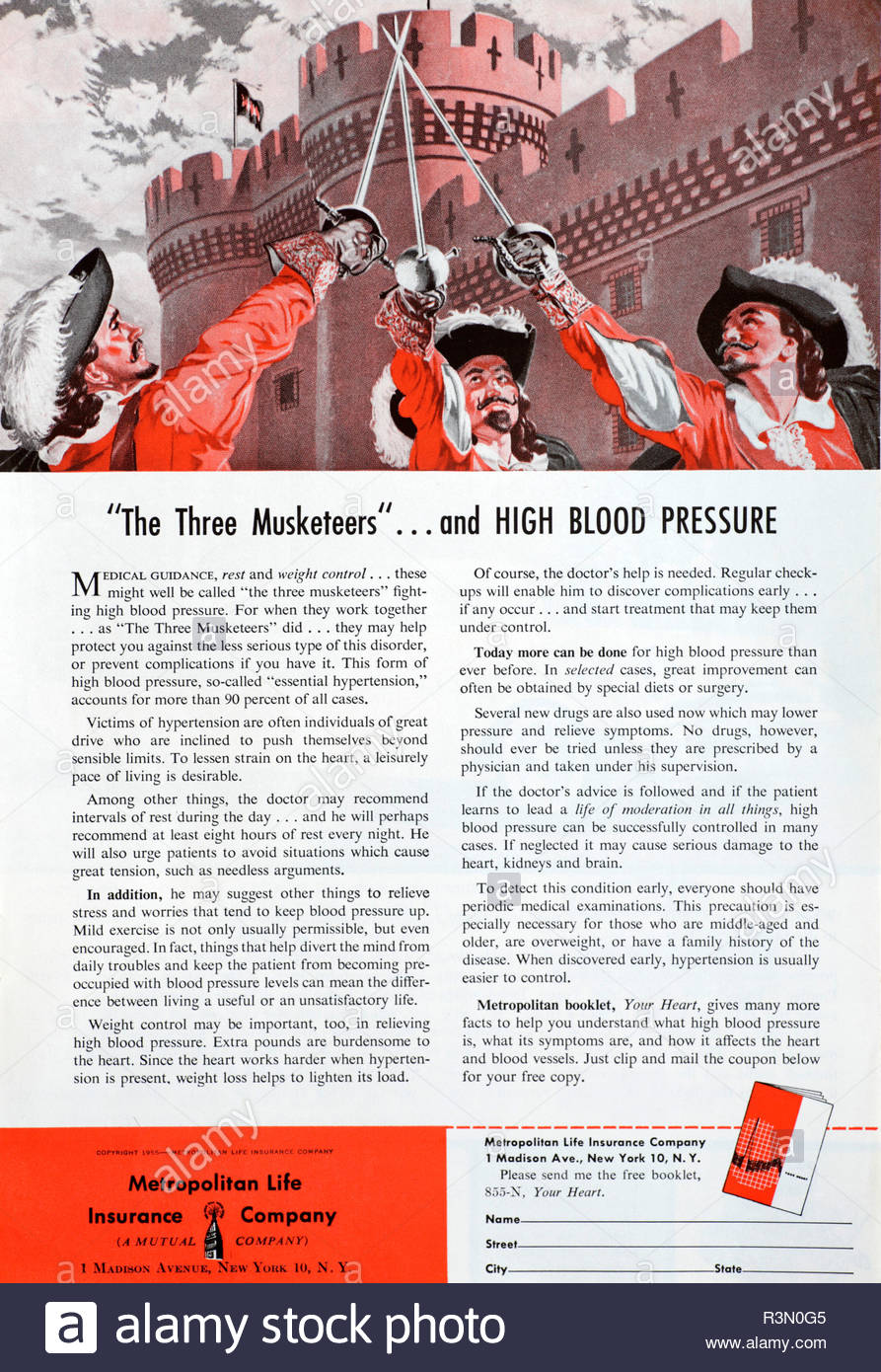 Vintage advertising for Metropolitan Life Insurance Company New York, from 1955 - Stock Image