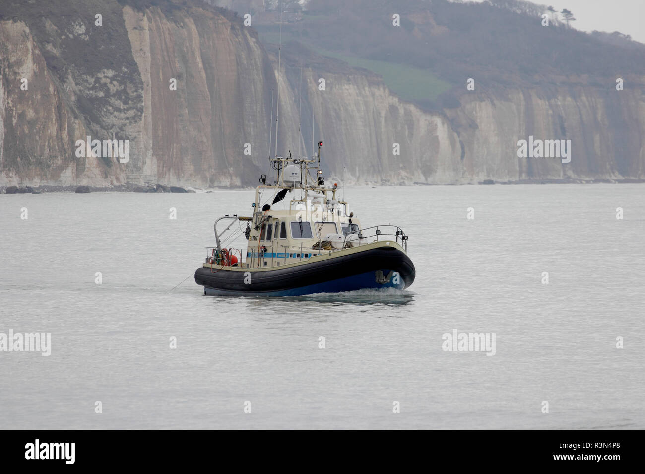 Vessel specialized in high resolution hydrographic mapping in action at Pourville-sur-Mer, Normandy, France - Stock Image