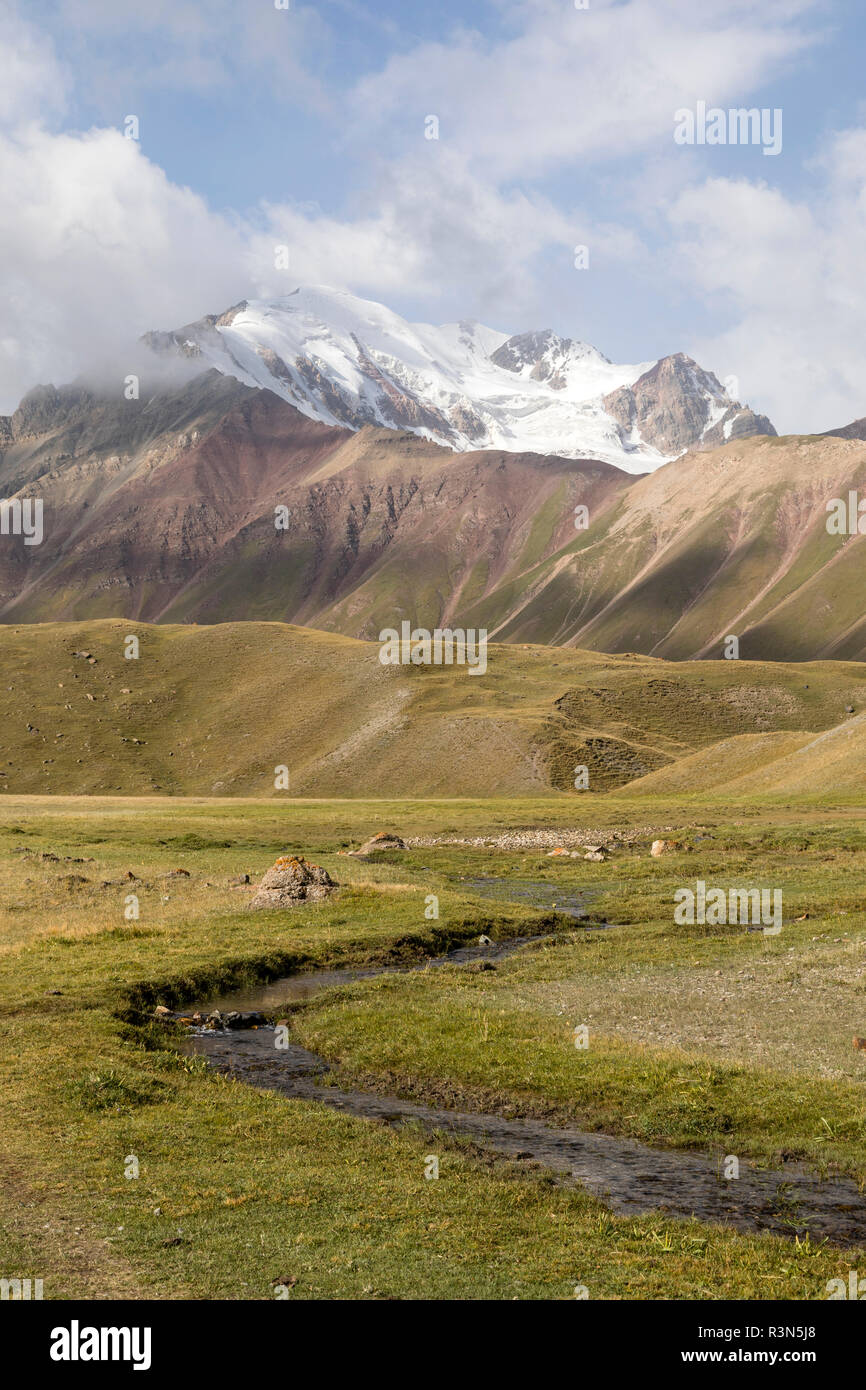 Landscape in the Pamir Mountains at the foot of Peak Lenin in Kyrgyzstan Stock Photo