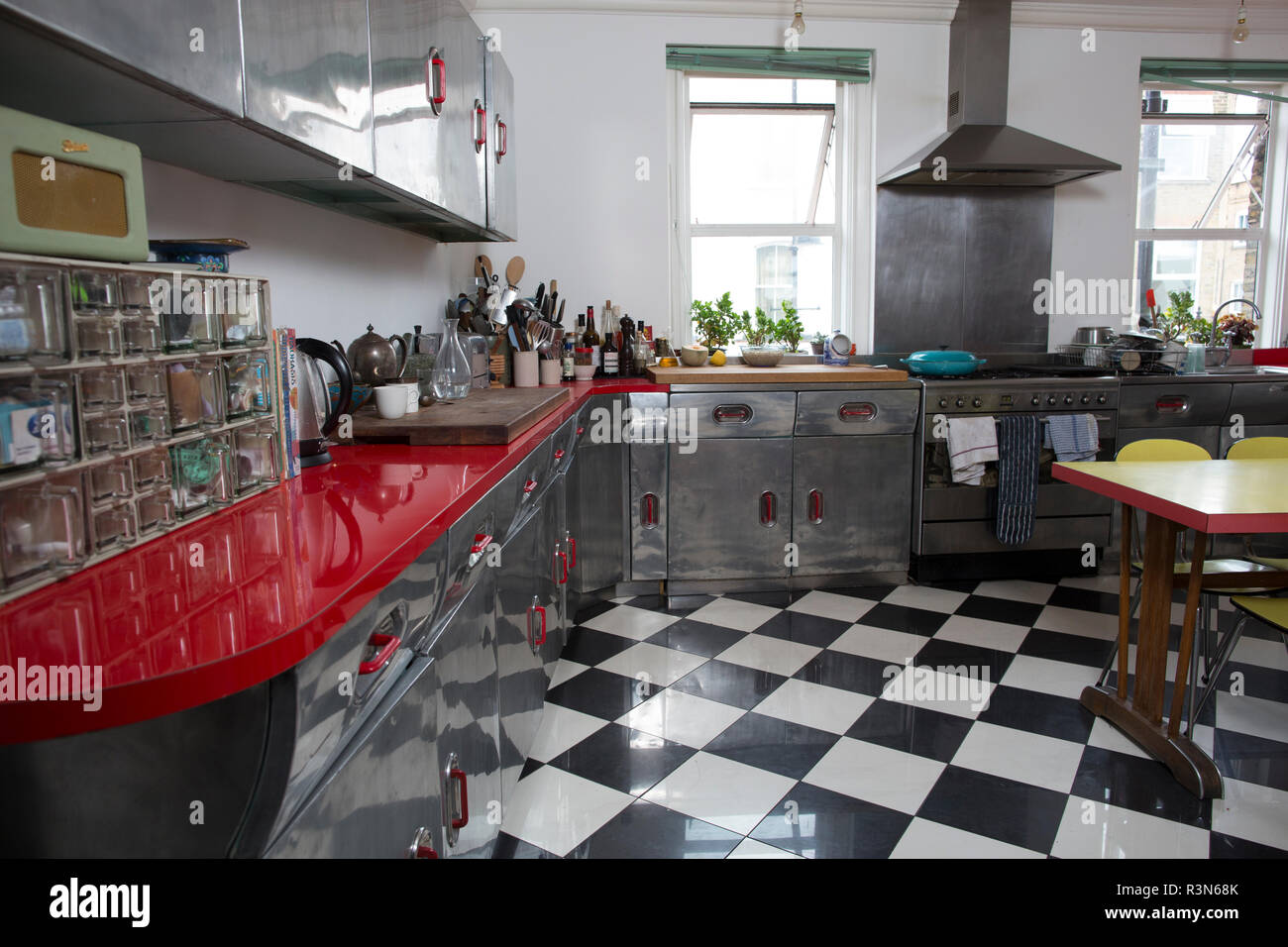 Fifties retro kitchen made by the company that manufactured Spitfires and Lancaster Bombers with a surplus of aircraft-grade aluminium, London, UK - Stock Image