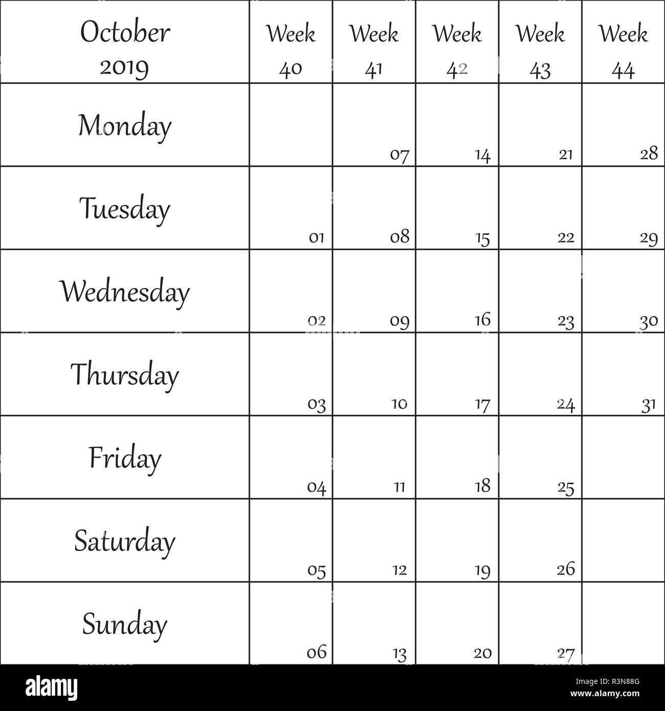 October 2019 Planner with number for each Weak - Stock Vector