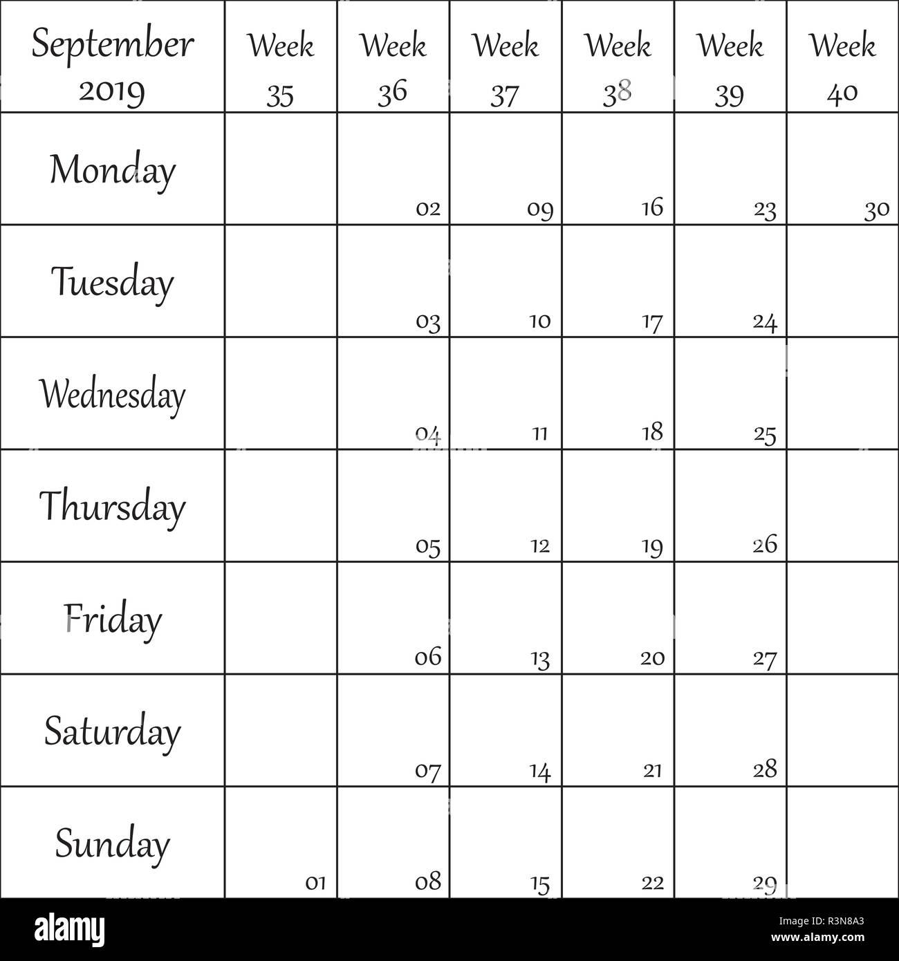 September 2019 Planner with number for each Weak - Stock Vector