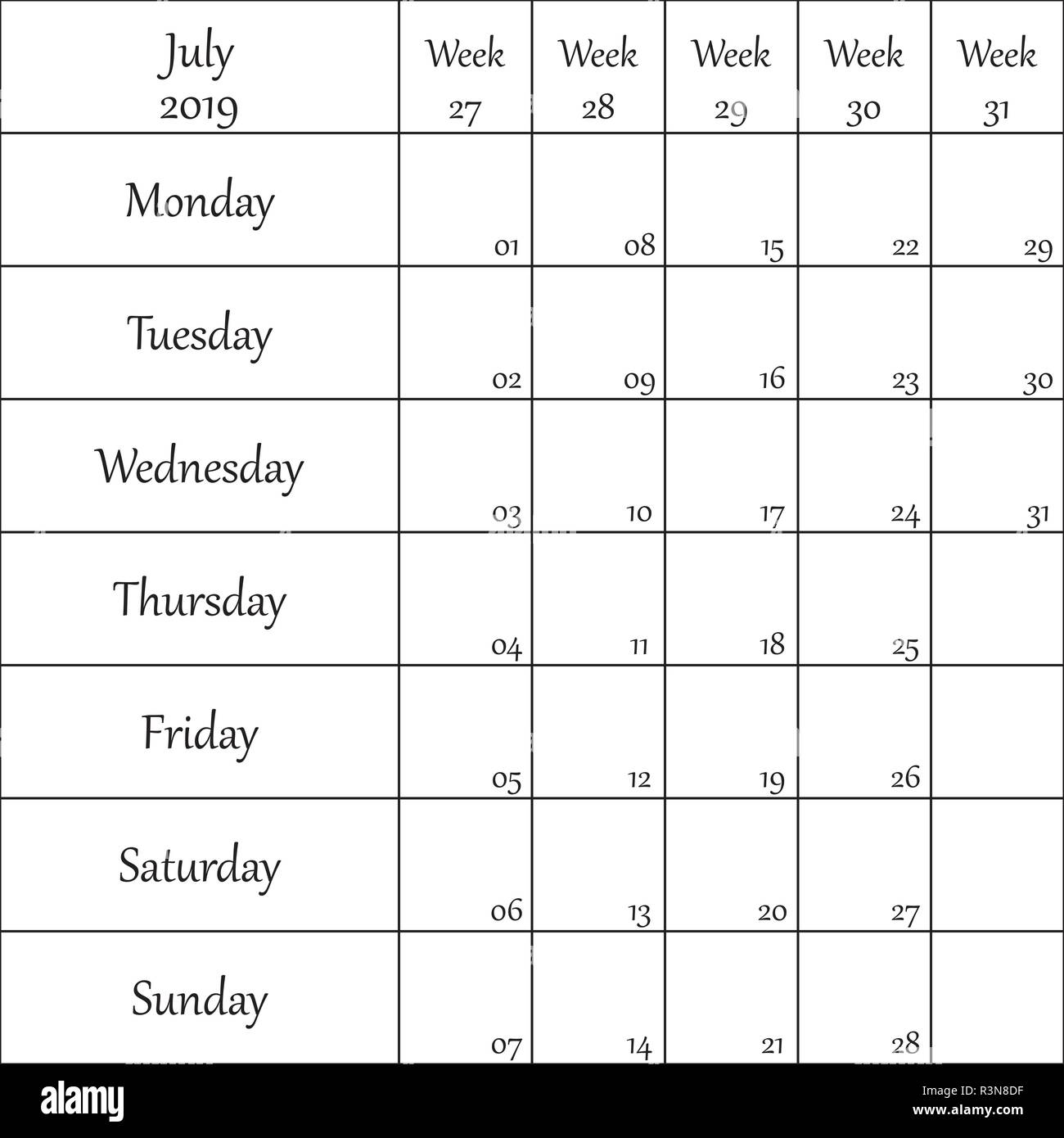 July 2019 Planner with number for each Weak - Stock Vector